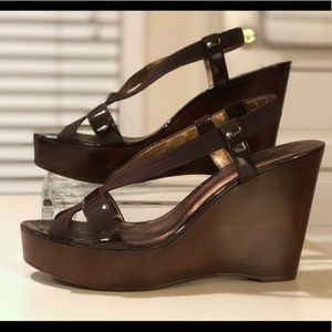 PELLE MODA Brown Platform Wedge Heels